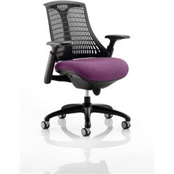 Flex Task Operator Chair Black Frame Black Back Purple Colour Seat With Arms Ref KCUP0288
