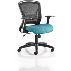Zeus Task Operator Chair Kingfisher Colour Seat Fabric With Arms Ref KCUP0711
