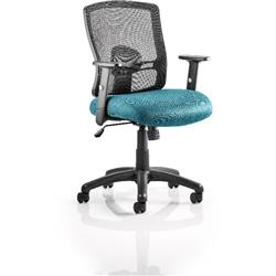 Portland Task Operator Chair Kingfisher Colour Seat With Arms Ref KCUP0479