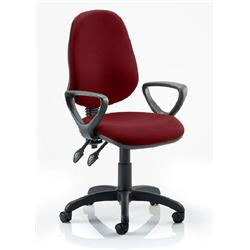 Eclipse II Lever Task Operator Chair Chilli Colour Fabric With Loop Arms Ref KCUP0837