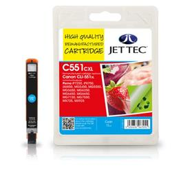 Jet Tec Canon Compatible CLI-551XL (11ml) Remanufactured Inkjet Cartridge