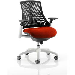 Flex Task Operator Chair White Frame Black Back Pimento Colour Seat With Arms Ref KCUP0748