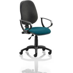 Eclipse I Lever Task Operator Chair Black Back Kingfisher Colour Seat With Loop Arms Ref KCUP0798