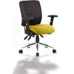 Chiro Task Operator Chair Medium Back Sunset Colour Seat With Arms Ref KCUP0125