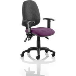 Eclipse III Lever Task Operator Chair Black Back Purple Colour Seat With Height Adjustable Arms Ref KCUP0876