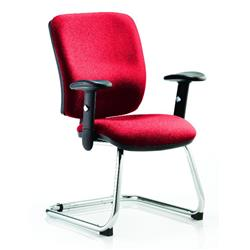 Chiro Task Operator Chair Medium Cantilever Cherry Colour With Arms Ref KCUP0129