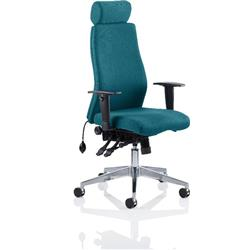 Onyx Posture Chair Kingfisher Colour With Headrest With Arms Ref KCUP0439