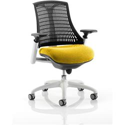 Flex Task Operator Chair White Frame Black Back Sunset Colour Seat With Arms Ref KCUP0749