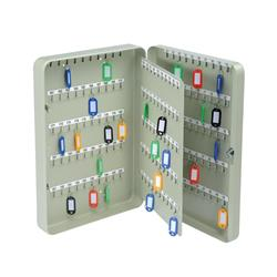 Key Cabinet Steel with Lock 200 Colour Tags 200 Numbered Hooks Grey