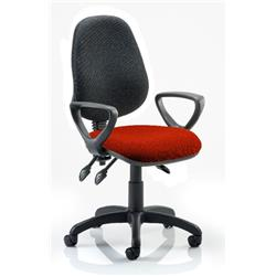Eclipse III Lever Task Operator Chair Black Back Pimento Colour Seat With Loop Arms Ref KCUP0887