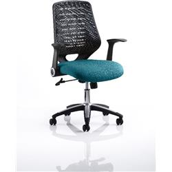Relay Task Operator Chair Kingfisher Colour Black Back With Arms Ref KCUP0511