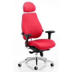 Chiro Plus Posture Chair Ultimate With Headrest Cherry Colour With Arms Ref KCUP0169