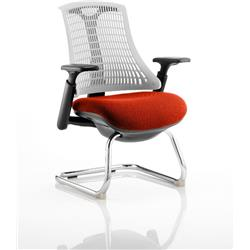Flex Task Operator Chair Black Frame White Back Cantilever Pimento Colour Seat With Arms Ref KCUP0756