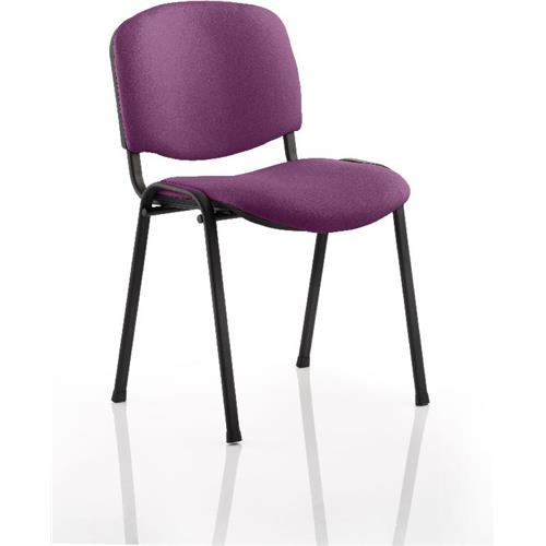 Iso Stacking Chair Purple Colour Fabric Black Frame