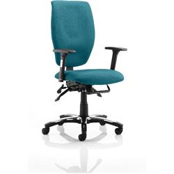 Sierra Task Operator Chair Kingfisher Colour Fabric With Arms Ref KCUP0782