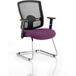 Portland Visitor Chair Cantilever Purple Colour Seat With Arms Ref KCUP0472