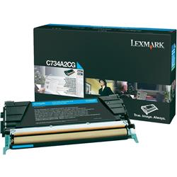 Lexmark Cyan Toner Cartridge (Yield 6,000 Pages) for C734/C736/X734/X736/X738