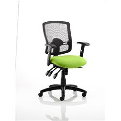 Portland III Task Operator Chair Black Mesh Back Swizzle Colour Seat With Arms Ref KCUP0490