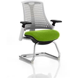 Flex Task Operator Chair White Back Cantilever White Frame Swizzle Colour Seat With Arms Ref KCUP0722