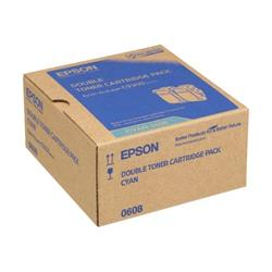 Epson 0608 High Capacity Toner Cartridges (Yield 7500 Pages) Cyan (2 Pack) for AcuLaser C9300N Series Colour Laser Printer
