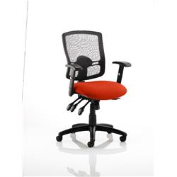 Portland III Task Operator Chair Black Mesh Back Pimento Colour Seat With Arms Ref KCUP0492