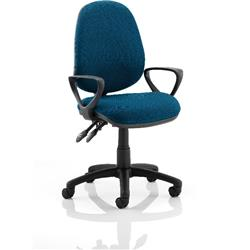 Luna II Lever Task Operator Chair Kingfisher Colour With Loop Arms Ref KCUP0942
