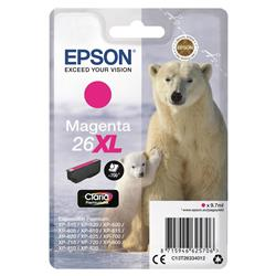 Epson 26XL Inkjet Cartridge Polar Bear Capacity 9.7ml 700pp Magenta Ref EPST26334010