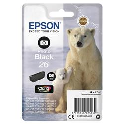 Epson T2611 26 Inkjet Cartridge Polar Bear Capacity 4.7ml 200pp Photo Black Ref C13T26114012