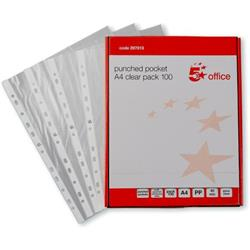 5 Star Office Punched Pocket Embossed Polypropylene Top-opening 40 Micron A4 Clear Pack 100