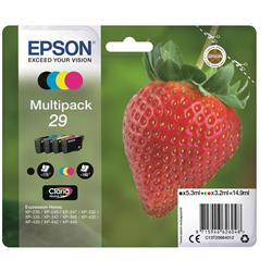 Epson No. 29 InkJet Cartridge 175pp Black 180pp Colour CMYK Ref C13T29864012 [Pack 4]