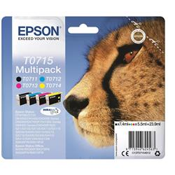 Epson T0715 Cyan/Magenta/Yellow/Black DURABrite Cheetah Ink Cartridge Multipack Capacity 23.9ml Total Ref C13T07154010 - 4 Colours