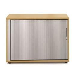 Sonix Tambour Door Cupboard Low Natural Oak/Silver