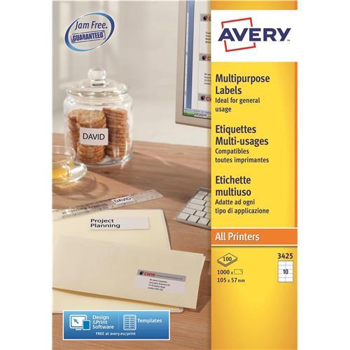 avery multipurpose labels laser copier inkjet 10 per sheet 105x57mm
