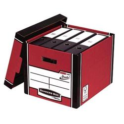 Bankers Box Premium Storage Box Tall FSC Red and White Ref 7260703 [Pack 12] [12 for the price of 10]