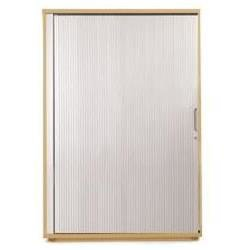 Sonix Tambour Door Cupboard Midi Natural Oak/Silver