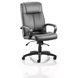 Plaza Executive Chair Black Bonded Leather With Arms Ref EX000052