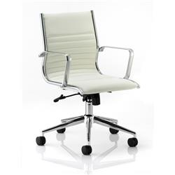 Ritz Executive Chair Ivory Bonded Leather Medium Back With Arms Ref EX000060