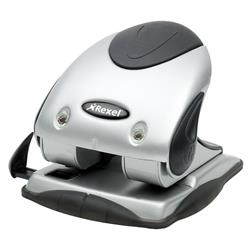 Rexel P240 Heavy Duty 2-Hole Punch with Nameplate Capacity 40x 80gsm Silver and Black Ref 2100748