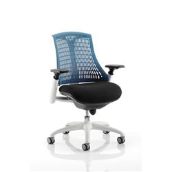 Flex Task Operator Chair White Frame Black Fabric Seat With Blue Back With Arms Ref KC0060