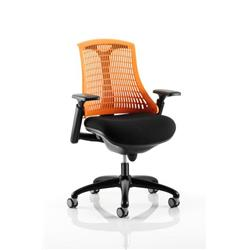 Flex Task Operator Chair Black Frame With Black Fabric Seat Orange Back With Arms Ref KC0075