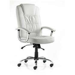 Moore Deluxe Executive Chair White Bonded Leather With Arms Ref EX000047