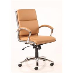 Classic Executive Chair Tan Bonded Leather With Arms Medium Back Ref EX000011