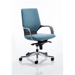 Xenon Executive Black Chair Blue Fabric Medium Back With Arms Ref EX000085