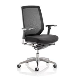 Midas Task Operator Chair Black Fabric Black Mesh Back With Arms Ref OP000091