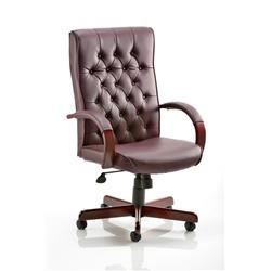 Chesterfield Executive Chair Burgundy Bonded Leather With Arms Ref EX000004