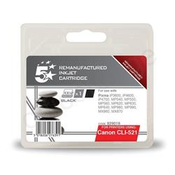 5 Star Office Remanufactured Inkjet Cartridge Page Life 425pp Black [Canon CLI-521BK Alternative]