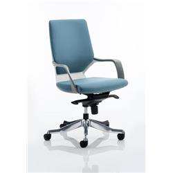 Xenon Executive White Chair Blue Fabric Medium Back With Arms Ref EX000096