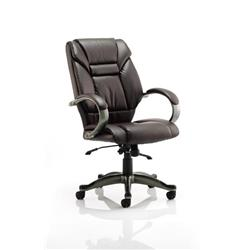Galloway Executive Chair Brown Leather With Arms Ref EX000032