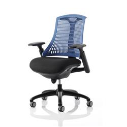 Flex Task Operator Chair Black Frame With Black Fabric Seat Blue Back With Arms Ref KC0076