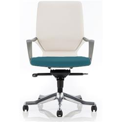 Xenon Executive Chair White Medium Back Kingfisher Colour Seat With Arms Ref KCUP0623